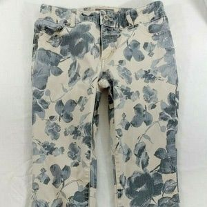 Chico's So Slimming Jeans Low Rise Floral Sz 00